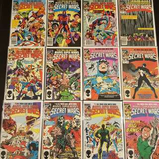 Marvel Secret Wars #1,#2,#3,#4,#5,#6,#7,#8,#9,#10,#11,#12 (1984)- Complete Set of 12 Books, 1ST Appearance of Spider-man's Black Alien Costume!! Retro To The Max! Awesomely ICONIC!