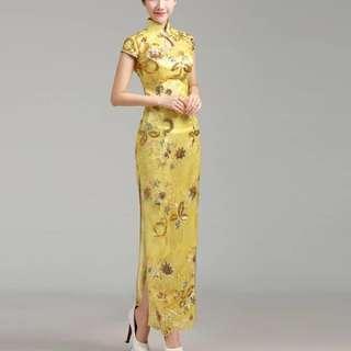 Premium elegant yellow long cheongsam
