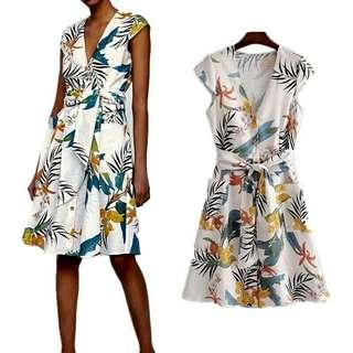 Floral leaf casual dress