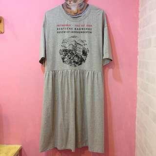 [彩色櫥窗]一件式棉質涼快寬鬆t恤感洋裝