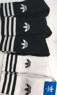🚚 Authentic black and white adidas crew socks