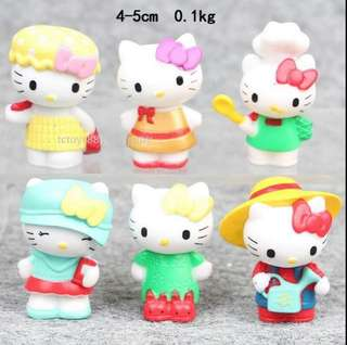 Hello kitty figurine 6 pcs