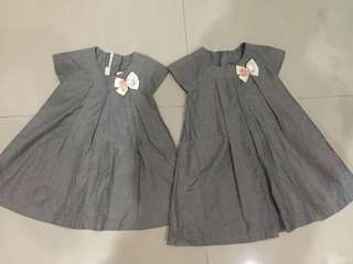 Grey with ribbon ~ baby dress