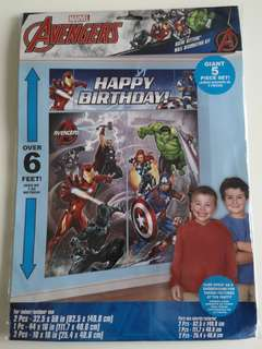 Avengers birthday banner and backdrop