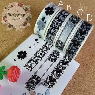 (4 rolls for 100) Black & White Washi Tapes