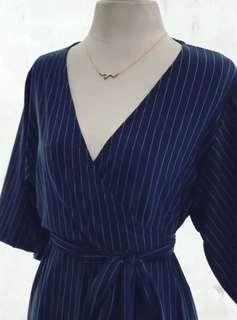 Navy Blue Wrap Around Dress