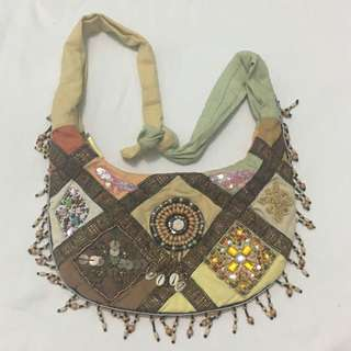 Boho-Chic Beaded Cloth Bag