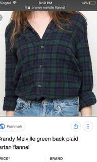 BN Brandy Melville Plaid Flannel Shirt