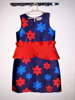 Flower Navy red dress
