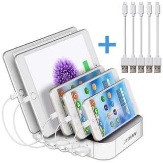 1155. Multi Device Charging Station 5 Port USB Tablet Charging Dock
