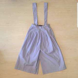 Authentic Zara Pinstripe Culottes Dungaree Overall Jumpsuit Romper