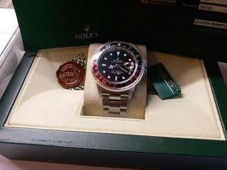 未用品 勞力士Rolex 16710 GMT 2 Z頭紅黑stick dial 99%新