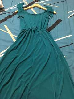 Turquoise sleeveless long dress with shoulder bow detail