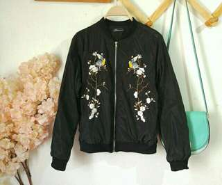 Black Embroidered Bomber Jacket