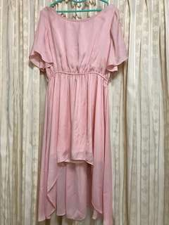 Dressing Paula Pink Dress 气质下摆不规则露背粉红连衣裙