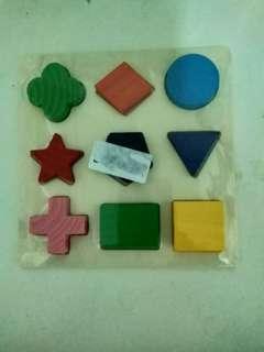 🚚 全新木製拼圖玩具,幾何形狀