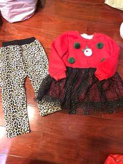 女童洋裝+刷毛褲9碼(2件80元)