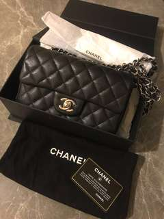 (不議價)Chanel mini 20cm 銀扣 銀鍊silver chain caviar