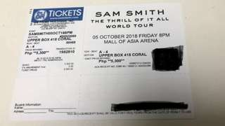 Sam Smith concert ticket