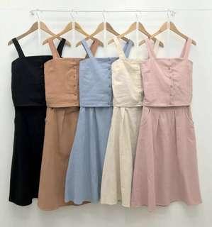 🚚 熱賣棉麻無袖背心+長裙套裝