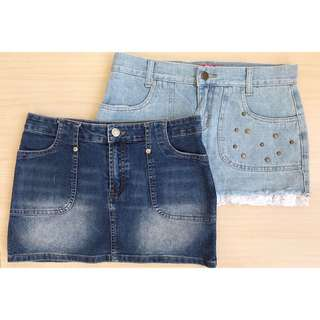 2x denim mini tube skirts size S