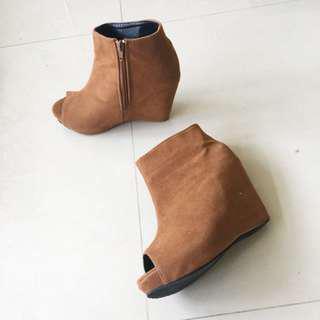 女神楔型高跟鞋 駝色 魚口鞋
