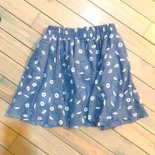 🚚 日牌 日本買 白色小花 藍色短裙