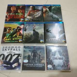 Bluray Blu ray Movie Collection (captain America, World war z, silent hill 2 die hard gravity)