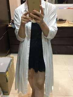 日本Samansamos2純白綿麻長版罩衫