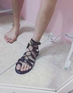 🚚 二手鞋.正韓 黑色個性綁繩羅馬涼鞋 24/38號