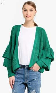 Green Ruffled Cardigan