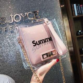 🚚 韓版氣質果凍包透明包小方包單肩包鏈條包手提包
