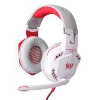 663. KOTION EACH G2000 Over-ear Game Gaming Headphone Headset Earphone Headband with Mic Stereo Bass LED Light for PC Game (White)