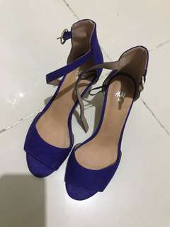 H&M Ankle Strap Suede Shoes in Dark Blue