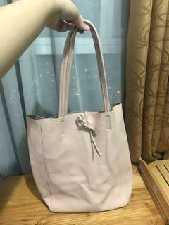 Genuine Leather Millennial Pink Tote