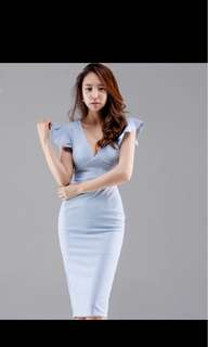 🚚 Summer Womens Sexy V-neck Solid Color Pencil Dress Ruffles Bodycon Party Fitted Office Casual Vestido