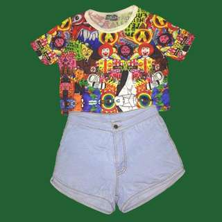 Cropped Top and Diaper Shorts Bundle