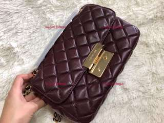 Ready Stock - Michael Kors Sloan Quilted Maroon