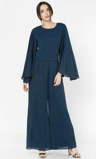 Aere Ginia Flare Detachable Jumpsuit in Navy Blue