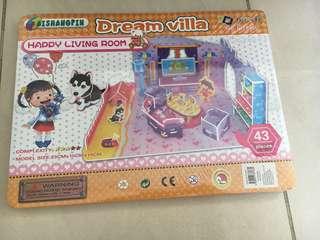Kids 3D puzzle Dream Villa happy living room