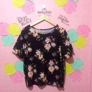 Plus Size Floral Top in Black