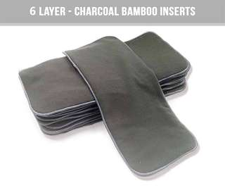 6 LAYER CHARCOAL BAMBOO INSERT WASHABLE