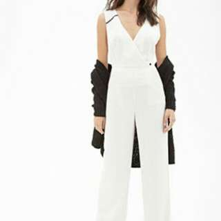 Forever 21 White Surplice Jumpsuit