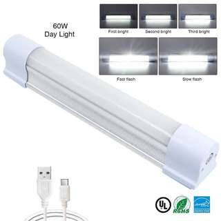 LED Tube Magnets Light Work Lights 60W 4000Lumens 5 Dimming Levels Camping Lantern USB Rechargeable Portable Lights with magnets Endurance for 40 hours (KM-7658-7660 60Watts)