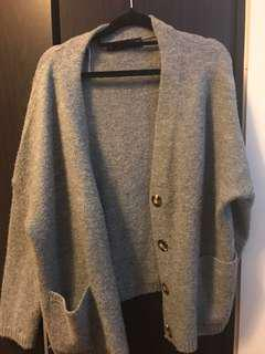 Zara Grey Knit Cardigan w/ Oversized Buttons