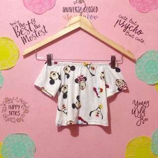 Minnie Mouse Print Offshoulder