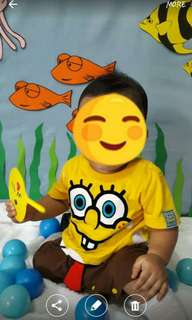 Spongebob baby costume overall / Ootd