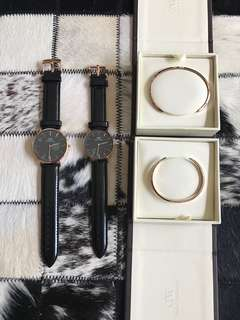 Daniel Wellington DW Couple watch 40mm&36mm Couple watch ( strap colour can choose ) + Couple cuffs