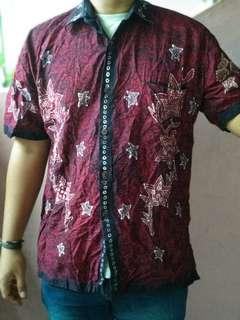 Batik Maroon Shirt (Batik Klaten)