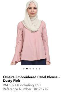Poplook - Omaira Embroided Panel Blouse (Dusty Pink)
